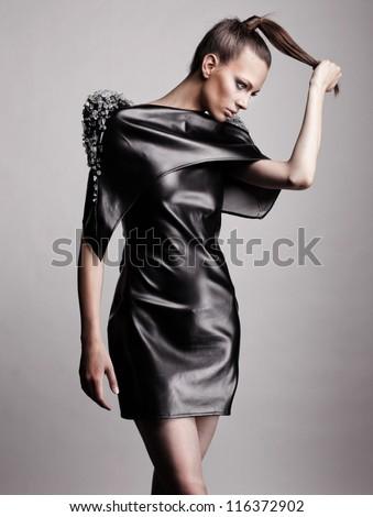 Fashion portrait of modern girl - stock photo