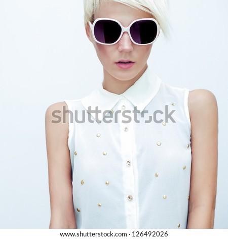 Fashion portrait of sensual girls - stock photo