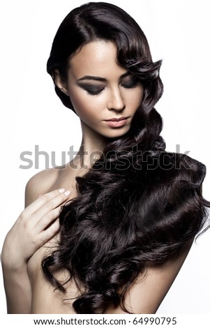 Fashion portrait of sexy woman with an original hairdress and a make-up - stock photo