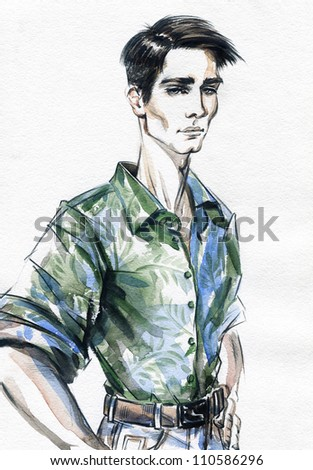 Fashion portrait of the young beautiful man. Hand painted fashion illustration - stock photo