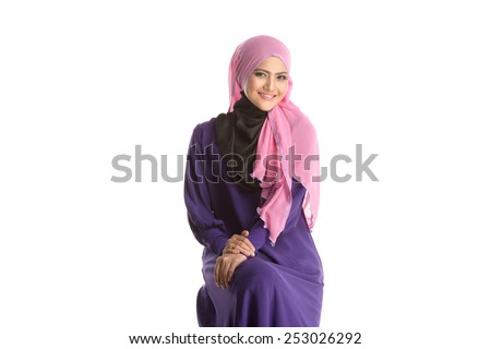 Fashion portrait of young beautiful asian muslim woman with wearing hijab - stock photo