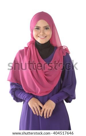 Fashion portrait of young beautiful asian muslim woman with wearing hijab - stock photo