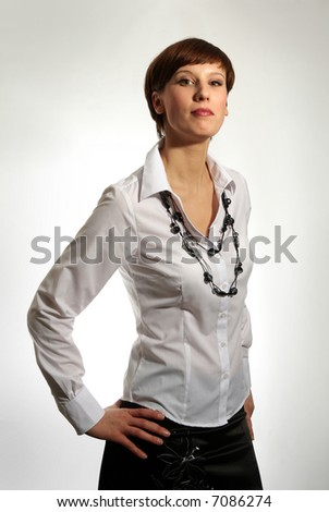 Fashion portrait of young beautiful business woman