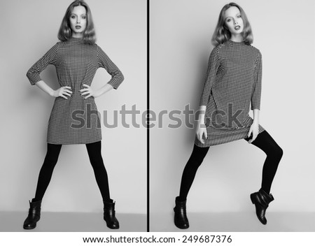 Fashion portrait of young beautiful female model  in casual dress and boots.Collage. - stock photo