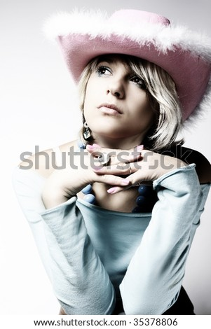 Fashion Portrait of young beautiful sexy Cowgirl - stock photo