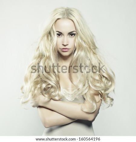 Fashion portrait of young beautiful woman. Sexy blonde. - stock photo