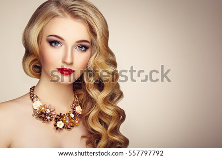 Blonde Girl Hairstyle : Beautiful girl long wavy shiny hair stock photo 548185558