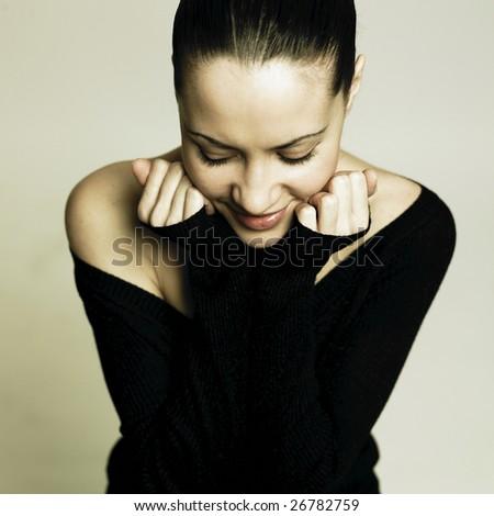 Fashion portrait of young pretty woman - stock photo