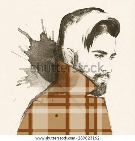Fashion portrait. young beautiful man. hand painted fashion illustration - stock photo