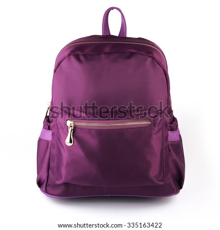 Fashion purple backpack isolated on white background. - stock photo