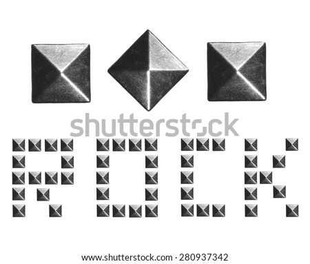 Fashion Rivets, Pyramid Metal Studs isolated on white background, music design elements - stock photo