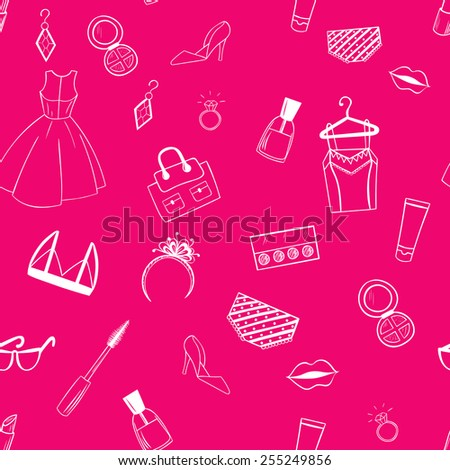 Fashion seamless pattern. Dress, ear rings, lipstick pink illustration.