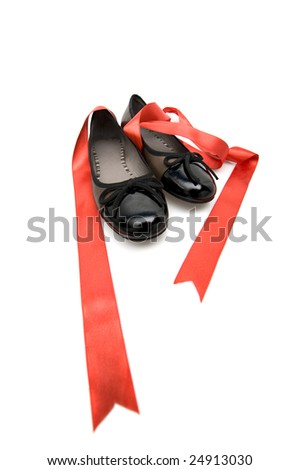 Fashion series: woman's black shoes over white - stock photo