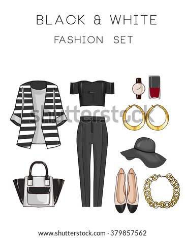 Fashion set of woman's clothes and accessories - Black and white outfit - pants, top, flat shoes, jewels bag - stock photo