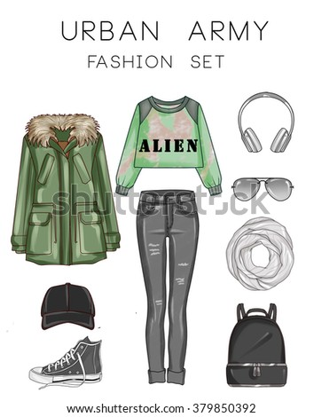 Fashion set of woman's clothes and accessories - Green Military Parka, Black ripped jeans, sneakers, hat, backpack, scarf, ear cuffs, scarf, sunglasses