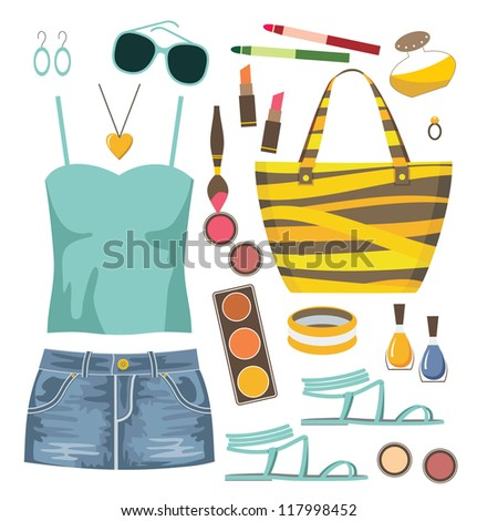 Fashion set with jeans skirt. Raster illustration.