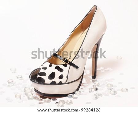 Fashion sexy high heel shoes on white studio background - stock photo
