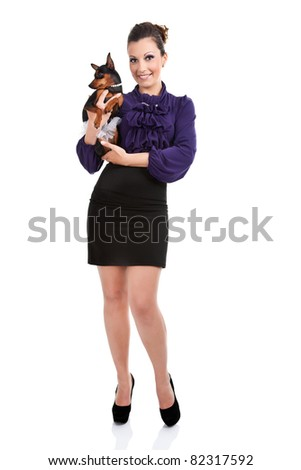 fashion,  sexy woman with her miniature pincher puppy,  isolated on white background - stock photo