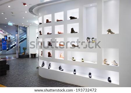 Fashion shoe store shelf  - stock photo
