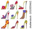 Fashion shoes. Decorative elements - stock photo