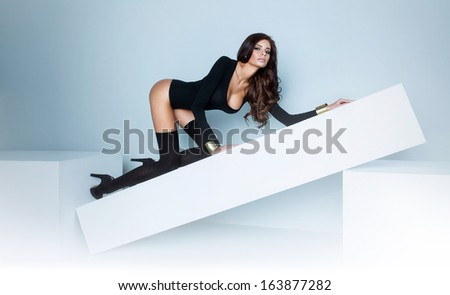 Fashion shoot of young sexy girl with amazing body - stock photo