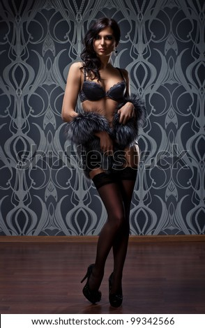 Fashion shoot of young sexy woman in lingerie - stock photo