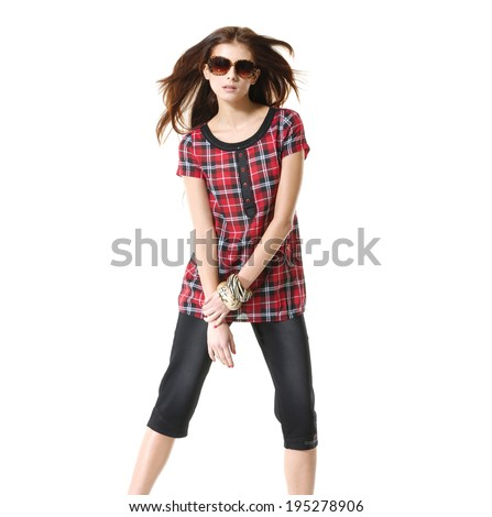 fashion shot of girl with sunglasses posing  - stock photo