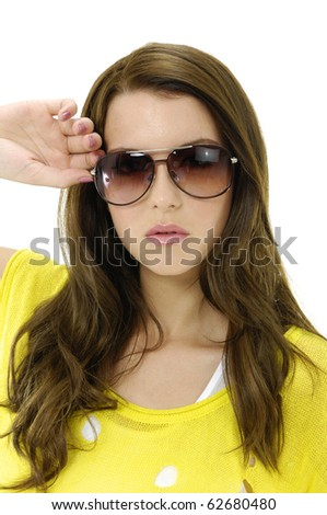 fashion shot of young girl with sunglasses-close up - stock photo