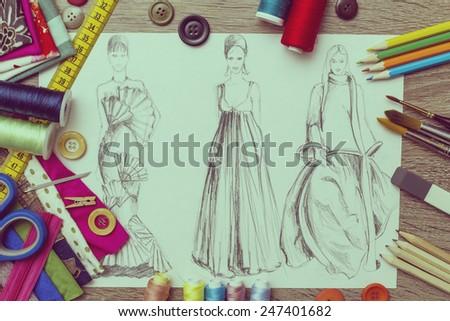fashion sketch  - stock photo