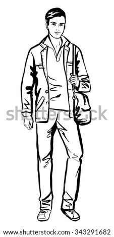 Fashion sketch of man walking on street