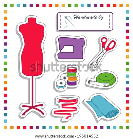 Fashion Stickers for diy fashion sewing, tailoring, dressmaking, crafts: label with copy space, needle, thread, scissors, sewing machine, bobbins. tape measure, ribbon, fabric. Rainbow frame,  - stock photo