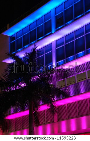 Fashion Store in South Beach with Vibrant Lighting at Night