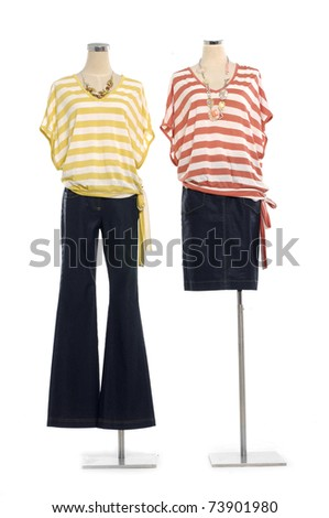 Fashion Striped shirt on mannequin isolated - stock photo