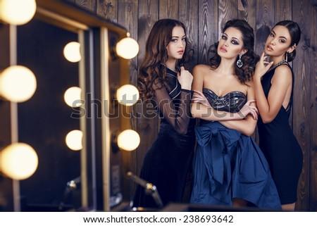 fashion studio photo of  beautiful sensual women with dark hair in luxurious dresses with bijou, posing in makeup room - stock photo