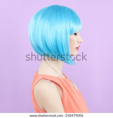 Fashion studio photo of beautiful stylish lady - stock photo