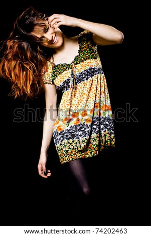 Fashion style photo of a young lady in dress