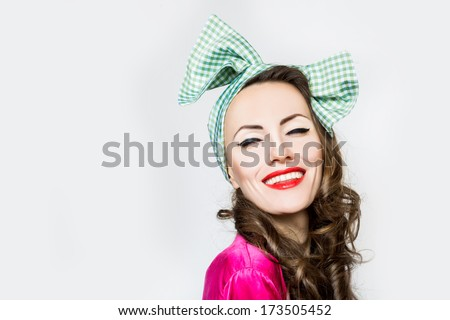 Fashion style woman on white. Retro woman portrait  - stock photo