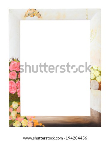 Fashion style wooden photo frame with flower background, clipping path. - stock photo