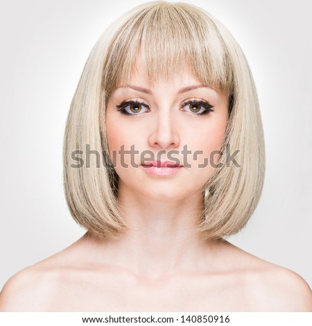 Fashion Stylish Beauty Portrait with White Short Hair. Beautiful Girl's Face Close-up. Haircut. Hairstyle. Fringe. Professional Makeup. Make-up. - stock photo