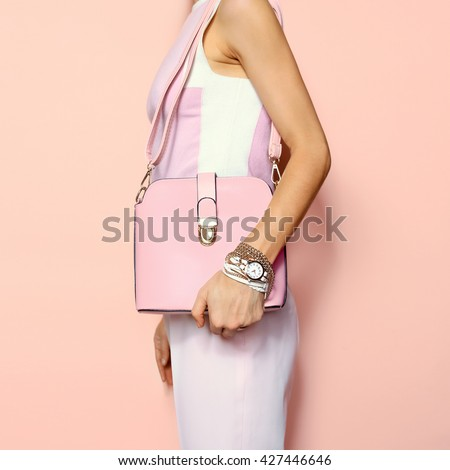 Fashion Summer Accessories Lady. Bag and Jewelery. Glamorous Pink. - stock photo