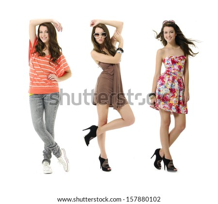 fashion three young woman with sunglasses posing - Full length