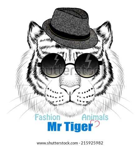 Fashion tiger head design - stock photo