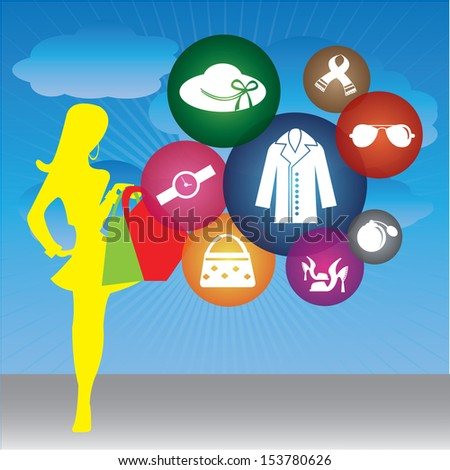 Fashion, Trends or Lifestyle Business Concept Present By Shopaholic Lady With Group of Colorful Lady Fashion Icon in Blue Sky Background - stock photo