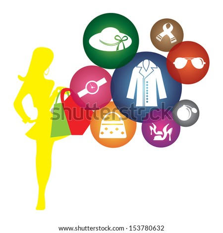 Fashion, Trends or Lifestyle Business Concept Present By Shopaholic Lady With Group of Colorful Lady Fashion Icon Isolated on White Background  - stock photo