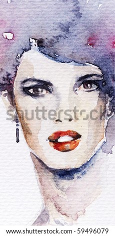 Fashion watercolor illustration - stock photo