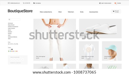 Fashion Web Store Template Mock Isolated Stock Illustration ...
