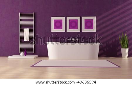 fashion white bathtub in front a plaster purple wall - stock photo