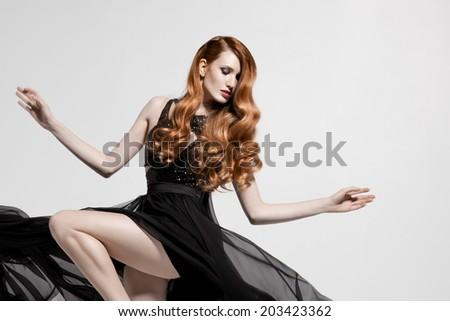 Fashion woman. Beautiful Hair. White background. - stock photo