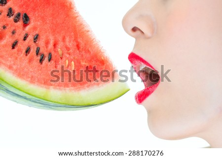 Fashion woman enjoy eating watermelon with red lips, yummy, desire, beauty - stock photo