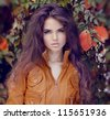 Fashion Woman Hair Style and Make up. Autumn Style. Autumn girl. - stock photo